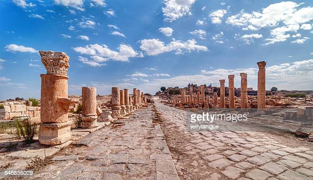 Jordan, View along ancient Roman road lined with columns