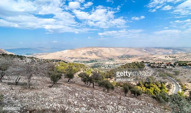 Jordan, View of towards Golan Heights at day