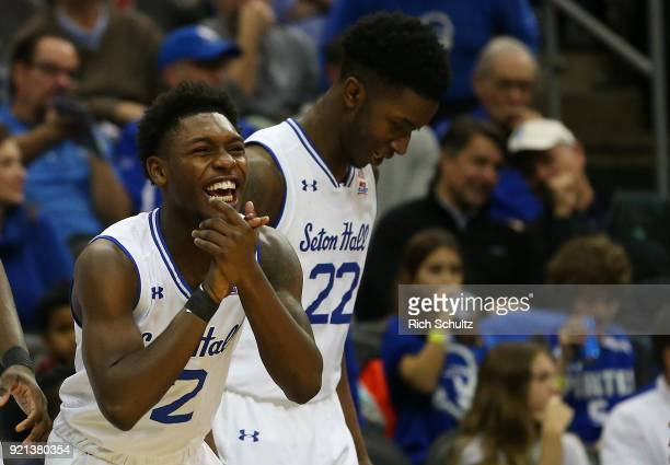 Jordan Walker and Myles Cale of the Seton Hall Pirates react during a game against the DePaul Blue Demons at Prudential Center on February 18 2018 in...