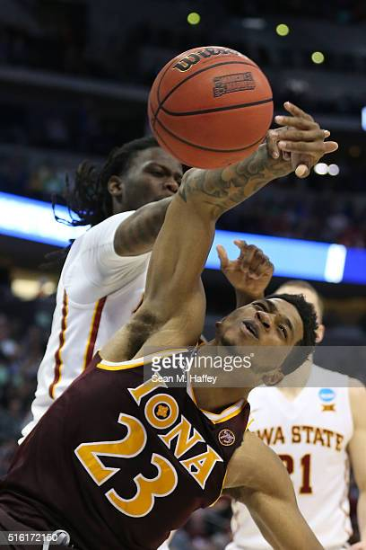 Jordan Washington of the Iona Gaels fights for a ball with Jameel McKay of the Iowa State Cyclones during the first round of the 2016 NCAA Men's...