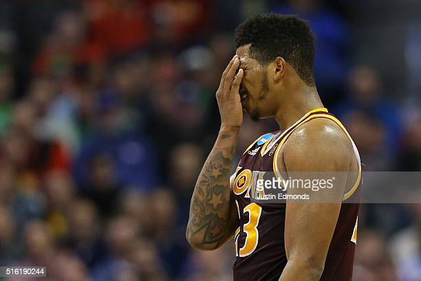 Jordan Washington of the Iona Gaels reacts in the second half against the Iowa State Cyclones during the first round of the 2016 NCAA Men's...