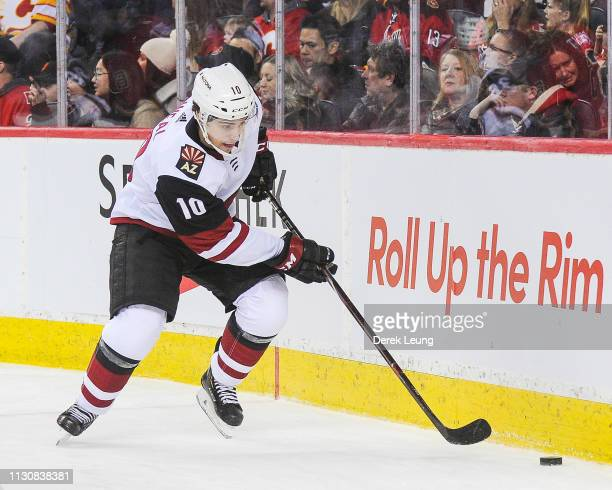 Jordan Weal of the Arizona Coyotes in action against the Calgary Flames during an NHL game at Scotiabank Saddledome on February 18 2019 in Calgary...