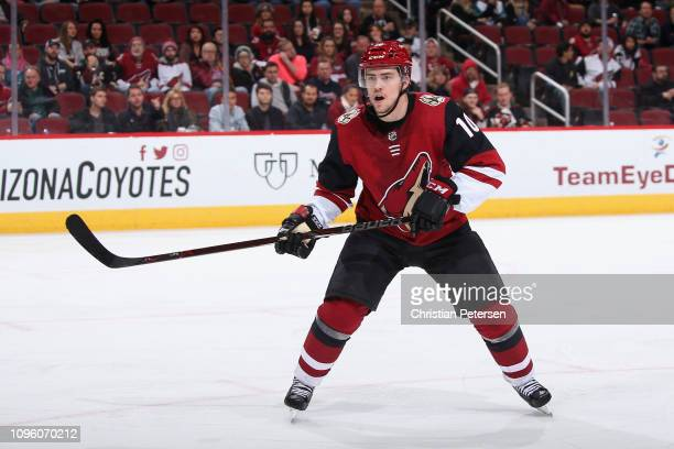 Jordan Weal of the Arizona Coyotes in action during the third period of the NHL game against the San Jose Sharks at Gila River Arena on January 16...