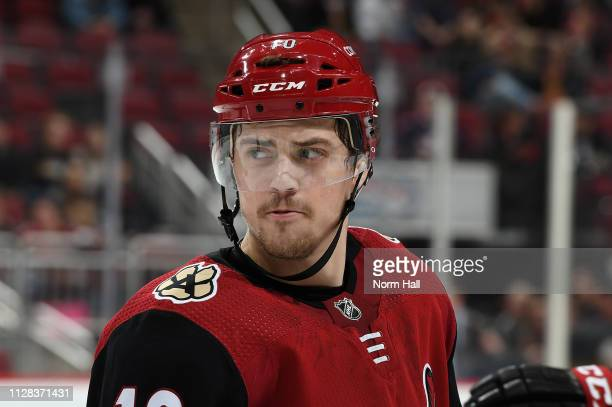 Jordan Weal of the Arizona Coyotes looks up ice during a stop in play against the Columbus Blue Jackets at Gila River Arena on February 7 2019 in...