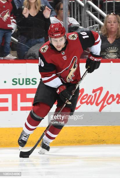 Jordan Weal of the Arizona Coyotes skates prior to a game against the San Jose Sharks at Gila River Arena on January 16 2019 in Glendale Arizona
