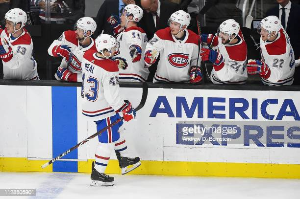 Jordan Weal of the Montreal Canadiens celebrates his secondperiod goal with the bench during the game against the Los Angeles Kings at STAPLES Center...
