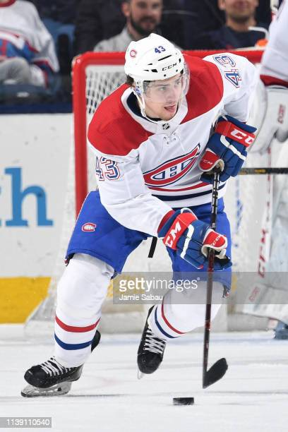 Jordan Weal of the Montreal Canadiens skates against the Columbus Blue Jackets on March 28 2019 at Nationwide Arena in Columbus Ohio