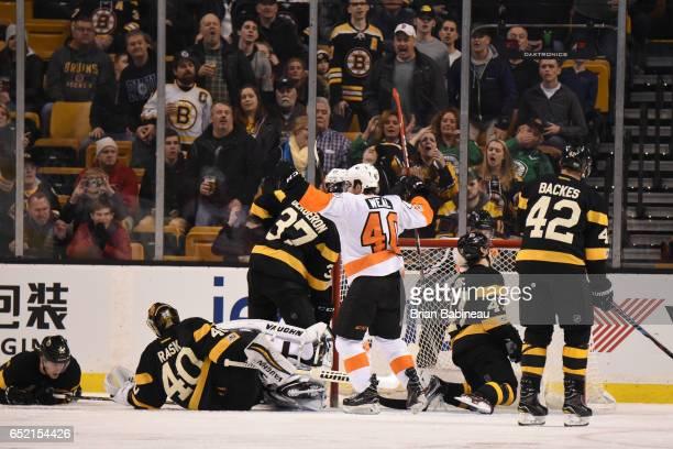 Jordan Weal of the Philadelphia Flyers celebrates a goal against the Boston Bruins at the TD Garden on March 11 2017 in Boston Massachusetts