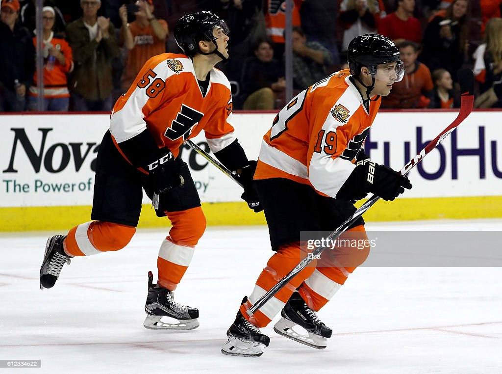 Jordan Weal #19 of the Philadelphia Flyers celebrates his goal with teammate Taylor Leier #58 in the second period against New York Rangers during a preseason game on October 3, 2016 at Wells Fargo Center in Philadelphia, Pennsylvania.