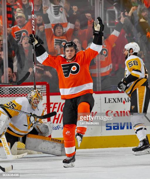 Jordan Weal of the Philadelphia Flyers celebrates his second period goal against the Pittsburgh Penguins on January 2 2018 at the Wells Fargo Center...