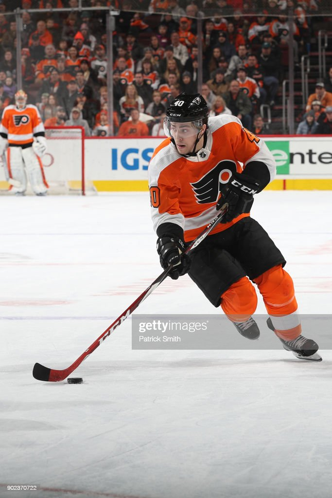 Jordan Weal #40 of the Philadelphia Flyers in action against the Buffalo Sabres at Wells Fargo Center on January 7, 2018 in Philadelphia, Pennsylvania.
