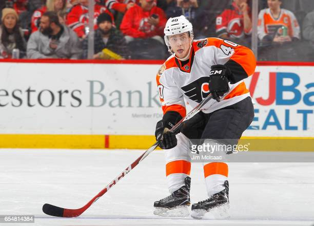 Jordan Weal of the Philadelphia Flyers in action against the New Jersey Devils on March 16 2017 at Prudential Center in Newark New Jersey The Devils...