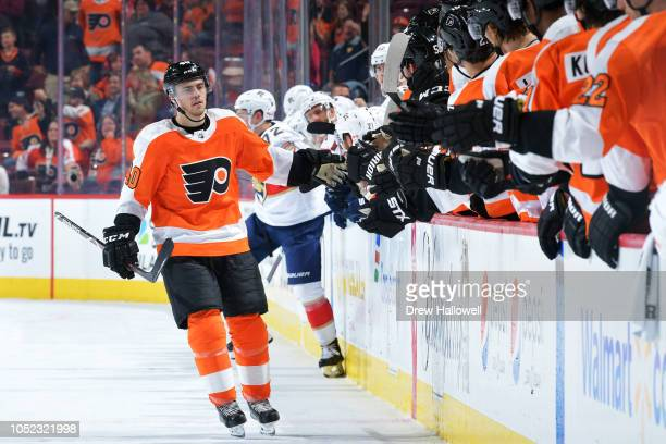 Jordan Weal of the Philadelphia Flyers is congratulated by teammates after he scored a goal during a shootout against the Florida Panthers at the...