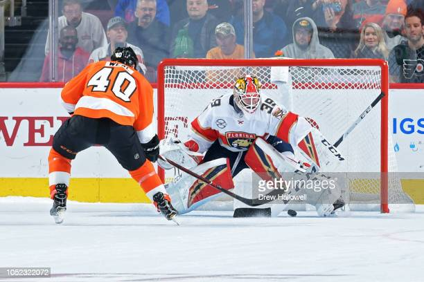 Jordan Weal of the Philadelphia Flyers scores the winning goal on goalie Michael Hutchinson of the Florida Panthers at the Wells Fargo Center on...