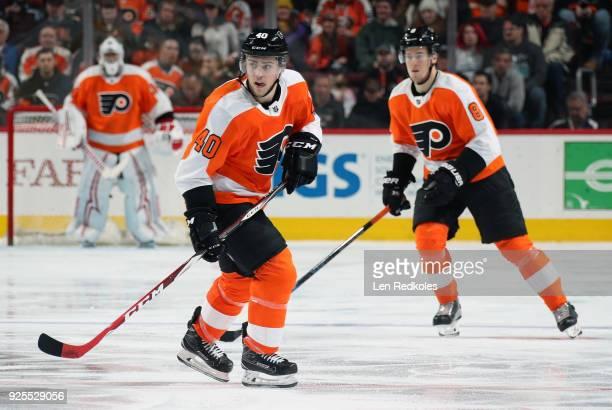 Jordan Weal of the Philadelphia Flyers skates against the Columbus Blue Jackets on February 22 2018 at the Wells Fargo Center in Philadelphia...