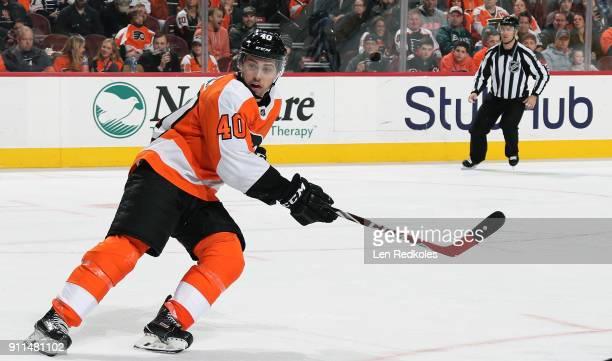 Jordan Weal of the Philadelphia Flyers skates against the New Jersey Devils on January 20 2018 at the Wells Fargo Center in Philadelphia Pennsylvania