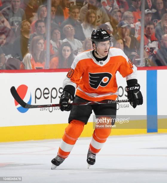 PHILADELPHIA PENNSYLVANIA SEPTEMBER 27 Jordan Weal of the Philadelphia Flyers skates against the New York Rangers at the Wells Fargo Center on...