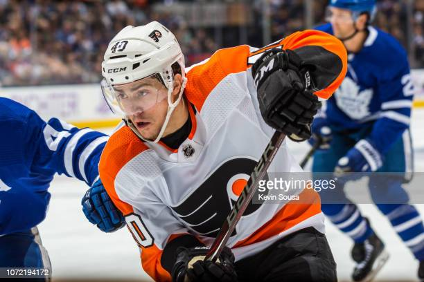 Jordan Weal of the Philadelphia Flyers skates against the Toronto Maple Leafs during the first period at the Scotiabank Arena on November 24 2018 in...