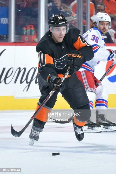 Jordan Weal of the Philadelphia Flyers skates New York Rangers at Wells Fargo Center on November 23 2018 in Philadelphia Pennsylvania