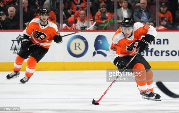 Jordan Weal of the Philadelphia Flyers skates the puck against the Columbus Blue Jackets on February 22 2018 at the Wells Fargo Center in...