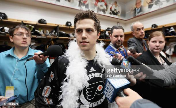 Jordan Weal of the Philadelphia Flyers speaks with the media after defeating the St Louis Blues 63 on January 6 2018 at the Wells Fargo Center in...