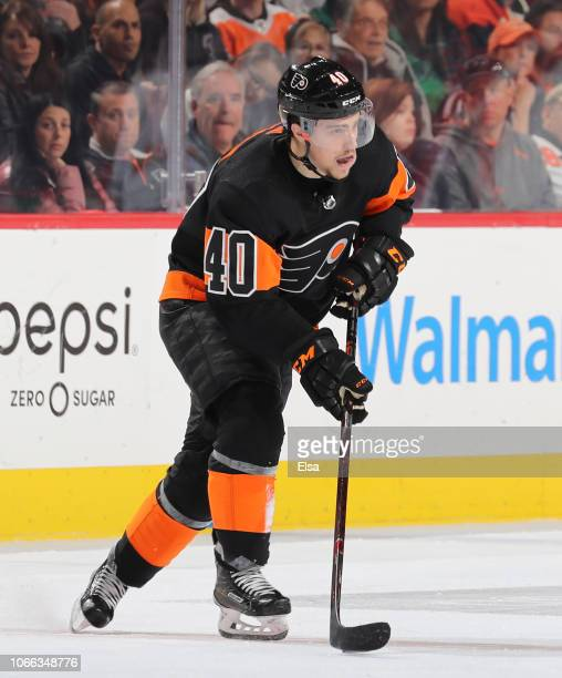 Jordan Weal of the Philadelphia Flyers takes the puck in the firs tperiod against the Chicago Blackhawks at Wells Fargo Center on November 10 2018 in...