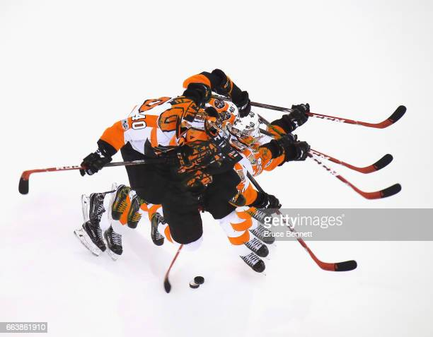 Jordan Weal of the Philadelphia Flyers takes the slapshot during warmups prior to the game against the New York Rangers at Madison Square Garden on...