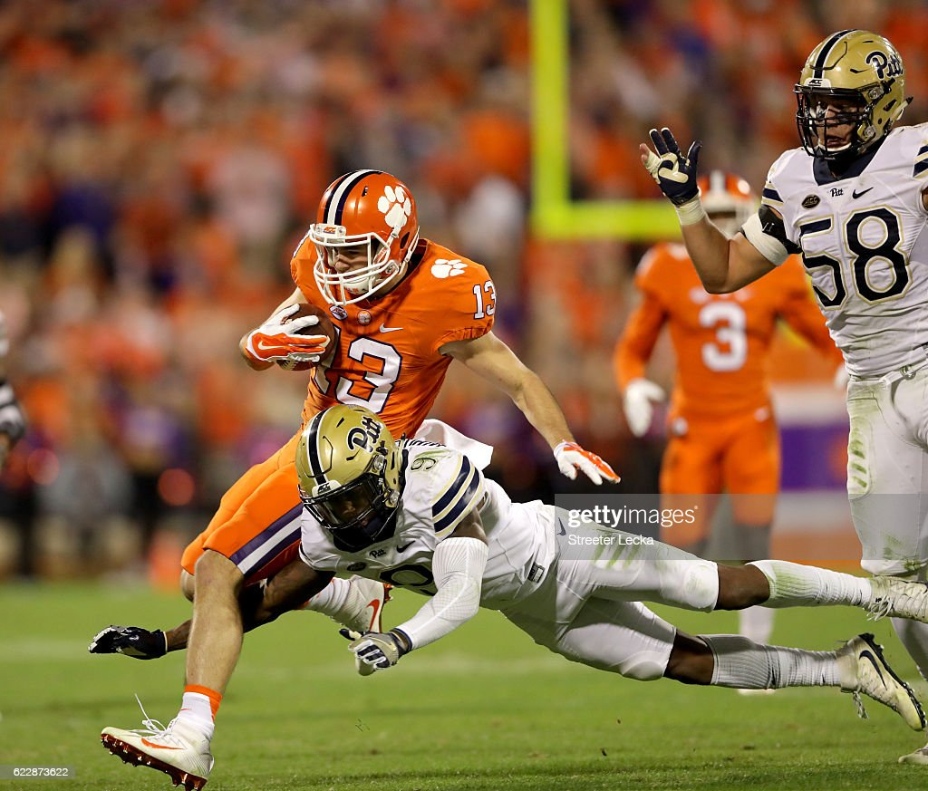 Jordan Whitehead #9 of the Pittsburgh Panthers tackles Hunter Renfrow #13 of the Clemson Tigers during their game at Memorial Stadium on November 12, 2016 in Clemson, South Carolina.