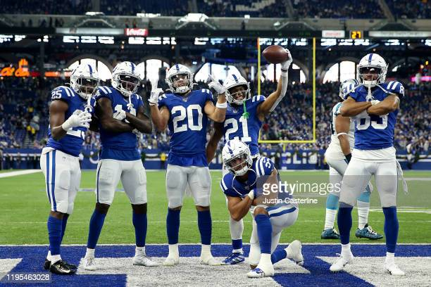 Jordan Wilkins and the Indianapolis Colts celebrates after a touchdown in the game against the Carolina Panthers during the fourth quarter at Lucas...