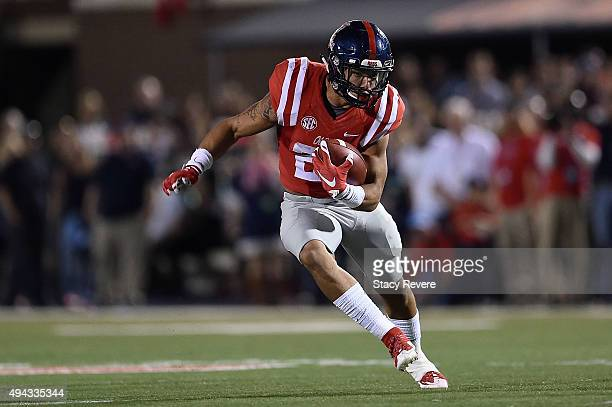 Jordan Wilkins of the Mississippi Rebels runs for yards during a game against the Texas AM Aggies at VaughtHemingway Stadium on October 24 2015 in...