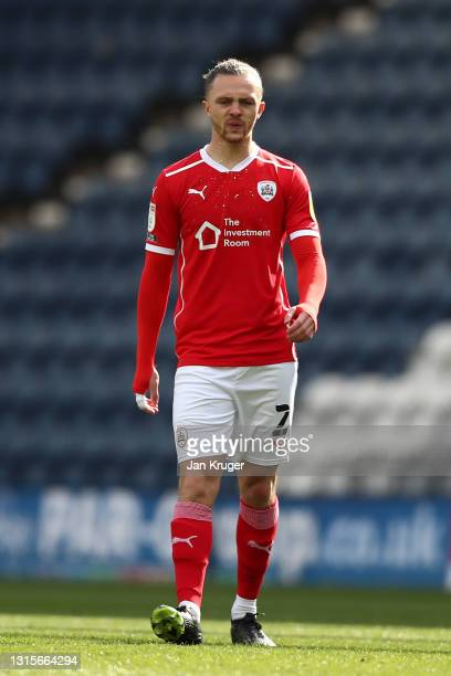 Jordan Williams of Barnsley during the Sky Bet Championship match between Preston North End and Barnsley at Deepdale on May 01, 2021 in Preston,...