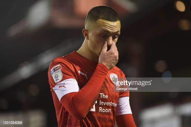 Jordan Williams of Barnsley reacts after the Sky Bet Championship match between Barnsley and Preston North End at Oakwell Stadium on January 21 2020...