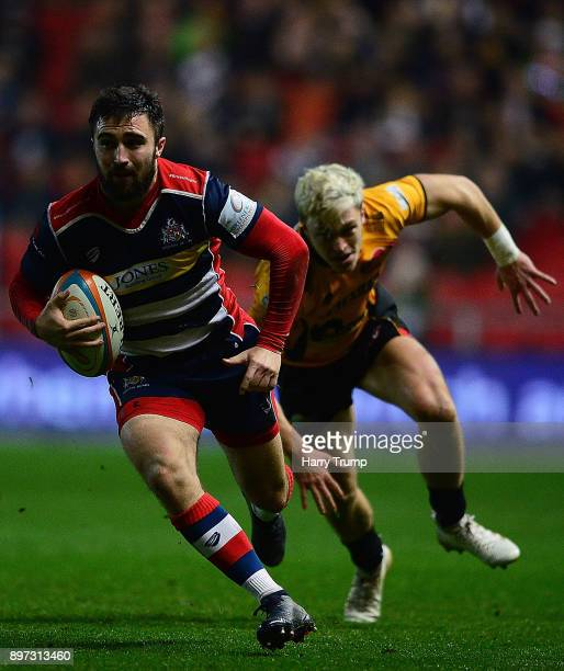 Jordan WIlliams of Bristol Rugby makes a break during the Greene King IPA Championship match between Bristol Rugby and Cornish Pirates at Ashton Gate...