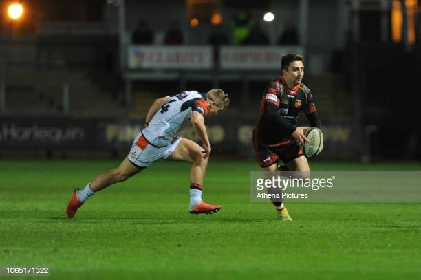 Jordan Williams of Dragons in action during the Guinness Pro14 Round 09 match between the Dragons and Edinburgh at Rodney Parade Stadium on November...