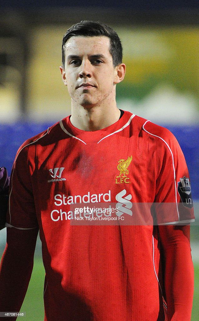 Jordan Williams of Liverpool during the U21 Premier League game between Liverpool and West Ham United at The Swansway Chester Stadium on March 20, 2015 in Chester, England.