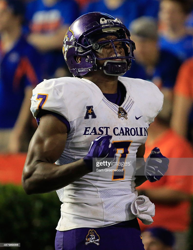 Jordan Williams #7 of the East Carolina Pirates celebrates a defensive stop during the game against the Florida Gators at Ben Hill Griffin Stadium on September 12, 2015 in Gainesville, Florida.
