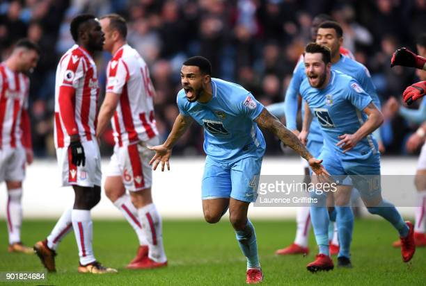 Jordan Willis of Coventry City celebrates after scoring his sides first goal during The Emirates FA Cup Third Round match between Coventry City and...