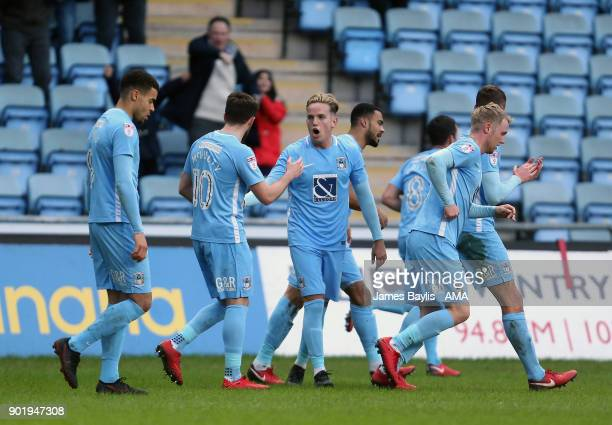 Jordan Willis of Coventry City celebrates with his team mates after scoring a goal to make it 10 during The Emirates FA Cup Third match between...