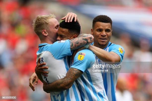 Jordan Willis of Coventry City celebrates with team mates after scoring their sides first goal during the Sky Bet League Two Play Off Final between...