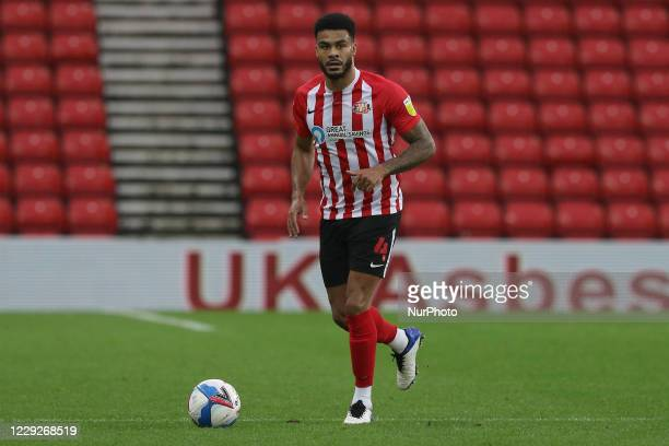 Jordan Willis of Sunderland during the Sky Bet League 1 match between Sunderland and Portsmouth at the Stadium Of Light Sunderland on Saturday 24th...