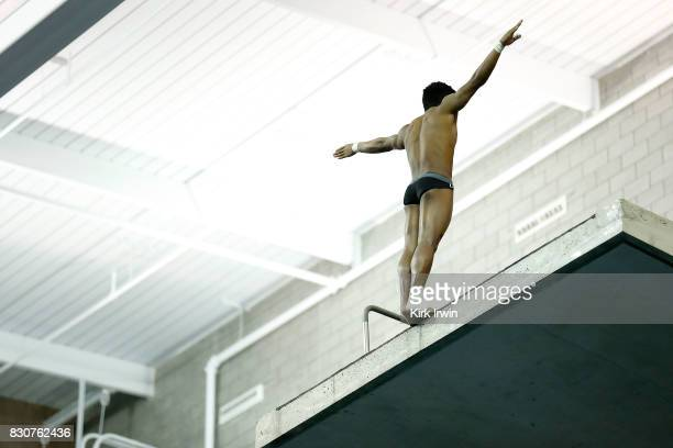 Jordan Windle of the Ft Lauderdale Diving Team competes during the Senior Men's Platform Final during the 2017 USA Diving Summer National...
