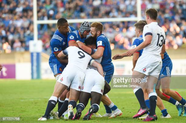 Jordan Woki and Clement Laporte and Maxime Marty of France during the Final World Championship U20 match between England and France on June 17 2018...