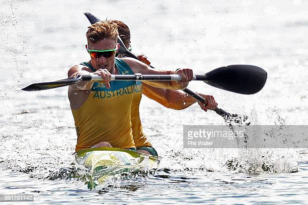 Jordan Wood and Daniel Bowker of Australia compete during the Men's Kayak Double 200m Final at the Lagoa Stadium on Day 13 of the 2016 Rio Olympic...