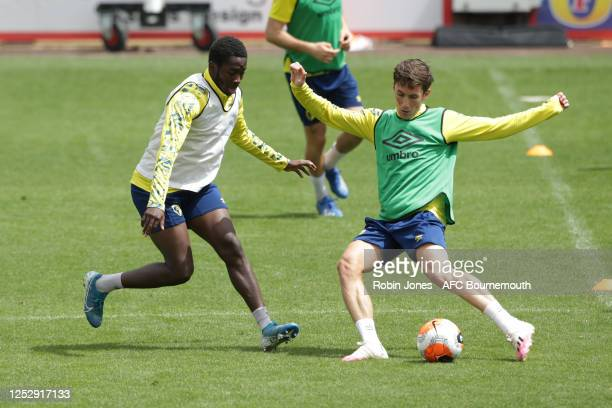 Jordan Zemura and Harry Wilson of Bournemouth during a training session at the Vitality Stadium on June 27 2020 in Bournemouth England
