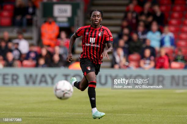Jordan Zemura of Bournemouth during the Carabao Cup 1st Round match between AFC Bournemouth and MK Dons at Vitality Stadium on July 31, 2021 in...