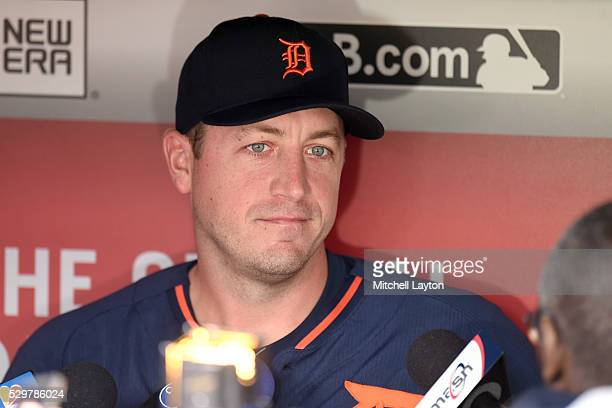 Jordan Zimmermann of the Detroit Tigers addresses the media before a baseball game against the Washington Nationals at Nationals Park on May 9 2016...