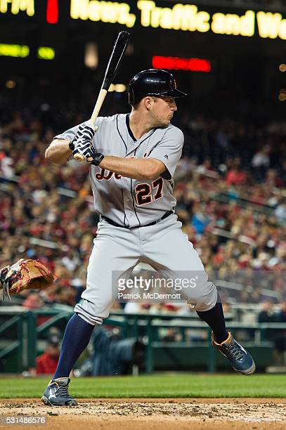 Jordan Zimmermann of the Detroit Tigers bats against the Washington Nationals in the sixth inning during a MLB game at Nationals Park on May 11 2016...