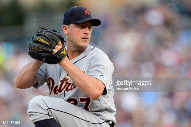 Jordan Zimmermann of the Detroit Tigers delivers a pitch against the Minnesota Twins during the game on July 22 2017 at Target Field in Minneapolis...