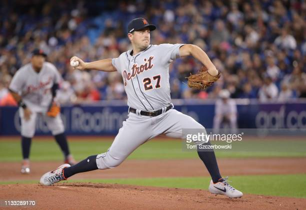 Jordan Zimmermann of the Detroit Tigers delivers a pitch in the first inning on Opening Day during MLB game action against the Toronto Blue Jays at...