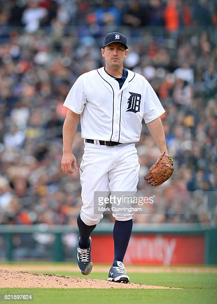 Jordan Zimmermann of the Detroit Tigers looks on during the Opening Day game against the New York Yankees at Comerica Park on April 8 2016 in Detroit...